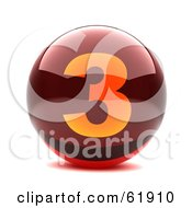 Royalty Free RF Clipart Illustration Of A Round Red 3d Numbered Button 3