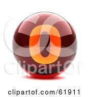 Royalty Free RF Clipart Illustration Of A Round Red 3d Numbered Button 0