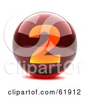 Royalty Free RF Clipart Illustration Of A Round Red 3d Numbered Button 2