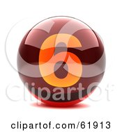 Royalty Free RF Clipart Illustration Of A Round Red 3d Numbered Button 6