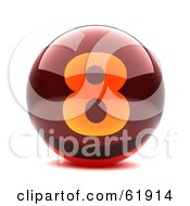 Royalty Free RF Clipart Illustration Of A Round Red 3d Numbered Button 8