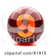 Royalty Free RF Clipart Illustration Of A Round Red 3d Numbered Button 9