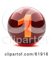 Royalty Free RF Clipart Illustration Of A Round Red 3d Numbered Button 1
