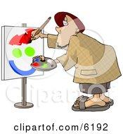 Amateur Caricaturist Practising His Painting Skills