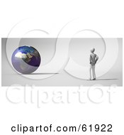 Royalty Free RF Clipart Illustration Of A Male Environmentalist Standing And Facing A 3d Globe