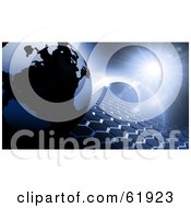 Royalty Free RF Clipart Illustration Of A 3d Globe On A Blue Hexagon Tiled Background With Flares Of Light by chrisroll