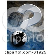 Royalty Free RF Clipart Illustration Of A Gray Question Mark Over A 3d Black And White Globe On A Cement Background by chrisroll
