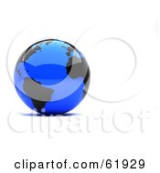 Shiny Blue 3d Globe With Black Continents