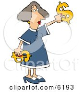 Money Woman Putting Decorating With Dollar Signs Clipart Picture