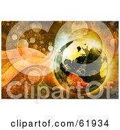 3d Futuristic Globe On A Grungy Retro Background Of Bubbles