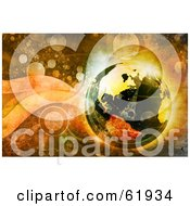 Royalty Free RF Clipart Illustration Of A 3d Futuristic Globe On A Grungy Retro Background Of Bubbles by chrisroll