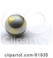 3d Gray And Gold Grid Globe On A White Background