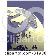 Royalty Free RF Clipart Illustration Of A Grid Globe With Beige Continents On Purple by chrisroll