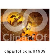 Royalty Free RF Clipart Illustration Of A 3d Rusty Globe With Grid Lines And Texture by chrisroll