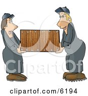 Two Men Movers Moving A Piece Of Furniture Clipart Picture