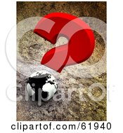 Red Question Mark Over A 3d Black And White Globe On A Cement Background