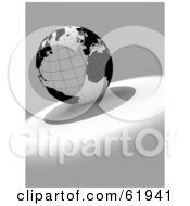 Royalty Free RF Clipart Illustration Of A Black And White 3d Grid Globe On A Gray And White Background Version 2