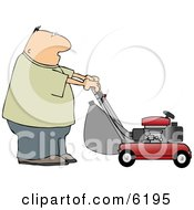 Man Cutting Grass With A Lawnmower Clipart Picture by djart