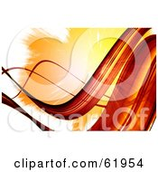 Royalty Free RF Clipart Illustration Of A Background Of Flowing Red Waves Against White And An Orange Burst by chrisroll