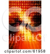 Royalty Free RF Clipart Illustration Of A Fiery Binary Background With Lines Of Code