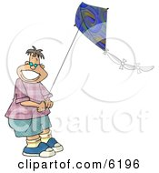Happy Teenage Boy Flying A Kite In Windy Weather Clipart Picture by Dennis Cox