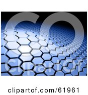Royalty Free RF Clipart Illustration Of A Raised Section Of A Blue Hexagon Tiled 3d Background Against Black by chrisroll