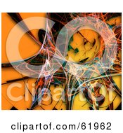 Royalty Free RF Clipart Illustration Of A Colorful Fractal Burst On Orange