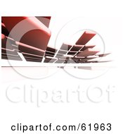 Royalty Free RF Clipart Illustration Of A Background Of Floating 3d Red Tiles Over White by chrisroll