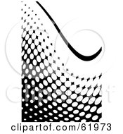 Royalty Free RF Clipart Illustration Of A Black And White Curving Halftone Dot Background Version 2