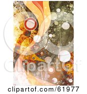 Royalty Free RF Clipart Illustration Of A Grungy Background Of Waves And Bright Orbs by chrisroll