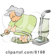 Senior Woman Adjusting An Attachment On A Vacuum Clipart Picture