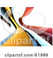 Royalty Free RF Clipart Illustration Of A Background Of Flowing 3d Waves Of Orange White Blue And Yellow Over White