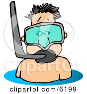 Man Wearing A Snorkel Mask Clipart Picture by Dennis Cox