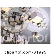 Royalty Free RF Clipart Illustration Of A Background Of Floating 3d Particle Cubes Version 3 by chrisroll