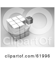 Royalty Free RF Clipart Illustration Of A 3d Nearly Completed Puzzle Cube With A Black Piece Floating