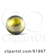 Royalty Free RF Clipart Illustration Of A 3d Gold Soccer Ball Stopped On White by chrisroll