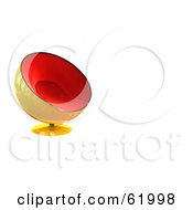 Royalty Free RF Clipart Illustration Of A 3d Stylish Red And Yellow Bubble Chair On White With Text Space