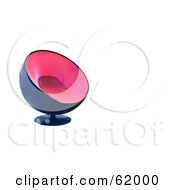 Royalty Free RF Clipart Illustration Of A 3d Stylish Pink And Blue Bubble Chair On White With Text Space