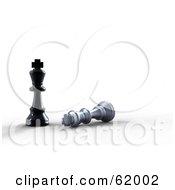 Royalty Free RF Clipart Illustration Of 3d Black And Silver King Chess Pieces The Black Looking Over The Silver
