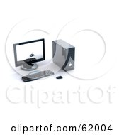 Royalty Free RF Clipart Illustration Of A 3d Black Computer Screen Keyboard Mouse And Tower