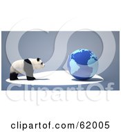Royalty Free RF Clipart Illustration Of An Endangered Panda Facing A Blue 3d Globe On A Gray Background