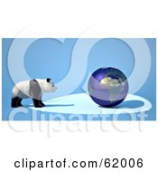 Royalty Free RF Clipart Illustration Of A Giant Panda Facing A Blue 3d Globe On A Blue Background by chrisroll