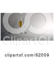 Royalty Free RF Clipart Illustration Of Two 3d Empty Glasses Cuddling Up To A Champagne Filled Flute