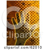 Royalty Free RF Clipart Illustration Of A Grungy Human Hand And Halftone Background by chrisroll