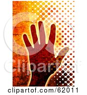 Royalty Free RF Clipart Illustration Of A Grungy Cracked Human Hand And Halftone Background by chrisroll