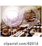 Royalty Free RF Clipart Illustration Of A Bright Solar Flare Above A Futuristic Urban City Version 2 by chrisroll