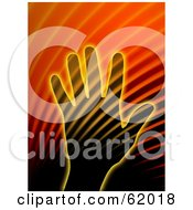 Royalty Free RF Clipart Illustration Of A Human Hand And Halftone Background With Light by chrisroll