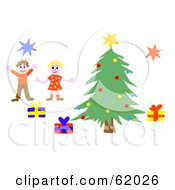 Royalty Free RF Clipart Illustration Of Two Happy Children Jumping By A Christmas Tree by chrisroll