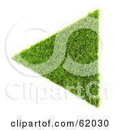 Royalty Free RF Clipart Illustration Of A 3d Grassy Green Triangle Arrow by chrisroll