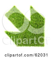 Royalty Free RF Clipart Illustration Of A 3d Grassy Green Down Arrow by chrisroll